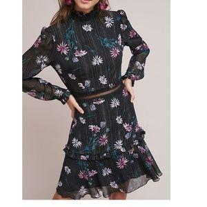 Anthropologie High-Neck Floral Dress